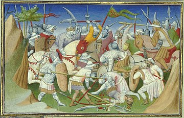 The Sultan of Adal (right) and his troops battling King Yagbea-Sion and his men. From Le livre des Merveilles, 15th century. YagbeaSionBattlingAdaSultan.JPG
