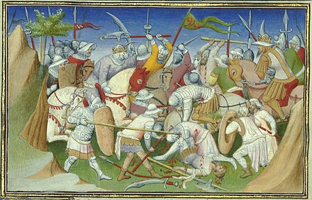 Abyssinian King Yagbea-Sion and his forces (left) battling the Sultan of Adal and his troops (Le Livre des Merveilles, 15th century) YagbeaSionBattlingAdaSultan.JPG