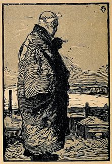 Monochromatic print of a man in a heavy coat standing, looking away from the viewer at the ocean