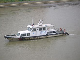 China Maritime Safety Administration - An MSA cutter on the Grand Canal of China off Yangzhou