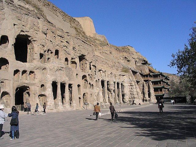 view of the Yungang Grottoes