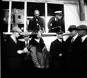 William A. Moffett - Admiral Moffet meets the ZR-1 and crew, during flight test landing at St. Louis Flying Field, on October 2, 1923