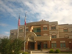 The front of the Zapata County Courthouse