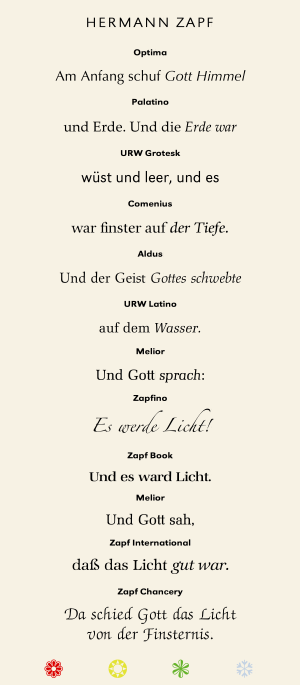 Hermann Zapf - A range of Zapf typeface designs