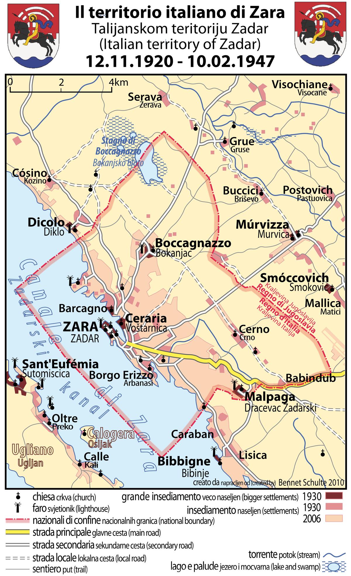 Dalmazia Italiana Cartina.File Zara Zadar 1920 1947 Png Wikimedia Commons