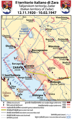 Treaty of Rapallo (1920) - Map of the Italian territory of Zara, 1920-1947