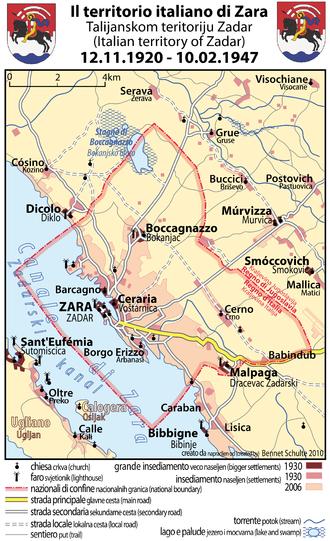Treaty of Rapallo (1920) - Map of the Italian territory of Zara, 1920-1947