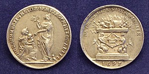 Treaty of Ryswick - Commemorative silver medal of the Peace Treaty of Rijswijk 1697.