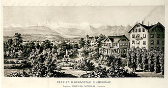 Zimmerwald - Hotel and Pension de Beau Séjour of Zimmerwald, steel engraving dated 1865