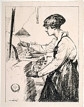 'On munitions - skilled work', Archibald Standish-Hartrick, 1917 (18172518392).jpg