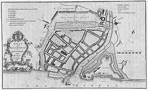 Fortifications of Kingston upon Hull - The town with Citadel in 1786. Also shown is the first town dock on the line of the north walls, and the western walls and Bush Dike. (survey by A. Bower)