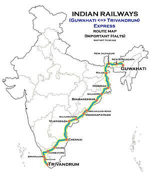 Thiruvananthapuram - Silchar Superfast Express - Guwahati - Trivandrum Express route map