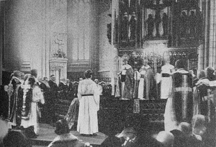 Nathan Soderblom is ordained as archbishop of the Church of Sweden, 1914. Although the Swedish Lutherans can boast of an unbroken line of ordinations going back prior to the Reformation, the bishops of Rome today do not recognize such ordinations as a valid due to the fact they occurred without authorization from the Roman See. Arkebiskopsvigning.jpg