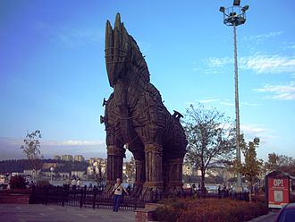 Çanakkale Onsekiz Mart University - The Çanakkale seafront, with wooden horse from the 2004 film Troy