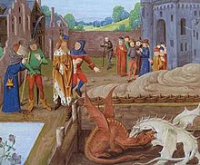 15th-century image illustrating the story of Vortigern and the red and white dragons