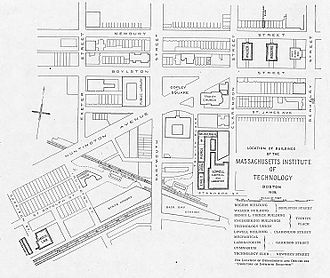 Massachusetts Institute of Technology - A 1905 map of MIT's Boston campus