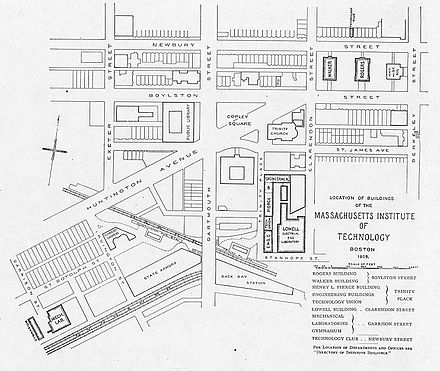 A 1905 map of MIT's Boston campus MIT kampus 1905.jpg
