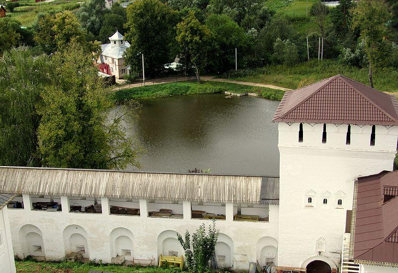 File:Свято-Пафнутьевский монастырь. Тайницкая башня, стена и пруд. Вид сверху (с колокольни).jpg