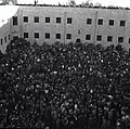 """ביום החלטת האו""""ם על מדינה עברית - הפגנת שמחה של המונים בחצר המוסדות הלאומיים בירושלים-JNF018948.jpeg"""