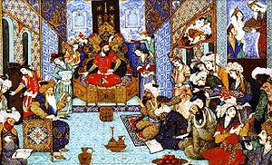 Turco-Persian tradition - Image of Mahmud of Ghazni in his court where noblemen and noblewomen convened.