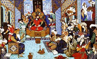 Mahmud of Ghazni - Medieval illustration of Mahmud and his court