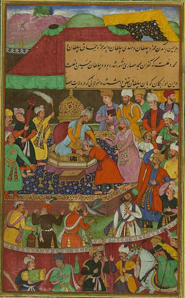 File:Ḥamzah Sulṭān, Mahdī Sulṭan and Mamāq Sulṭān pay homage to Babur.jpg