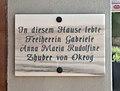 10.-Oktober-Platz 6 (Bleiburg) - plaque for Gabriele Anna Maria Rudolfine Zhuber von Okrog.jpg