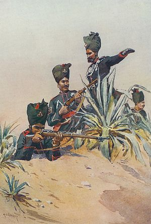 125th Napier's Rifles - Four men of the 125th Napier's Rifles, by A. C. Lovett (1911)