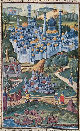 1455 painting of the Holy Land. Jerusalem is viewed from the west; the octagonal Dome of the Rock stands left of Al-Aqsa, shown as a church, and the Church of the Holy Sepulchre stands on the left side of the picture. 1283 Descriptio Terrae Sanctae.jpg