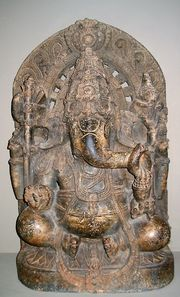This statue of Ganesha was created in the Mysore District of Karnataka in the 13th century.