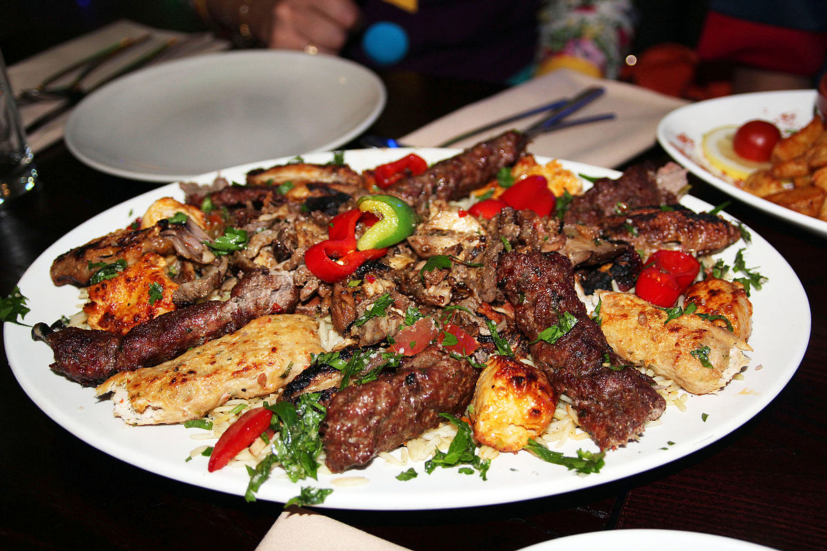 platter mixed grill restaurant dinner lebanese birmingham meat cuisine mix moroccan arabic bader al wikipedia served rice meaty