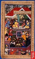 1508-Babur celebrates the birth of Humayun in the Chahar Bagh of Kabul.jpg