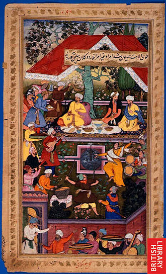 Humayun - Babur celebrates the birth of Humayun in the Charbagh of Kabul.