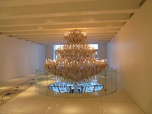15 Broad Street - Crystal chandelier in the lobby of 15 Broad Street