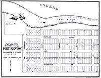 1876 hypothetical plat map showing relative wharf location