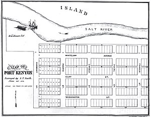 Port Kenyon, California - 1876 hypothetical plat map showing relative wharf location
