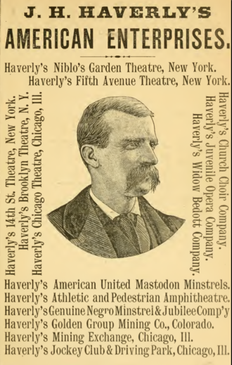 J. H. Haverly - Advertisement for Haverly's enterprises, 1880