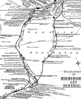 Birmingham West Suburban Railway - 1913 diagram of the BWSR (left) and the Camp Hill Line (right) on their respective routes from King's Norton to New Street.