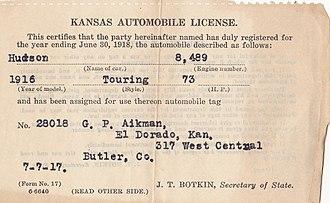 Vehicle registration certificate - American state-issued 1917 registration certificate