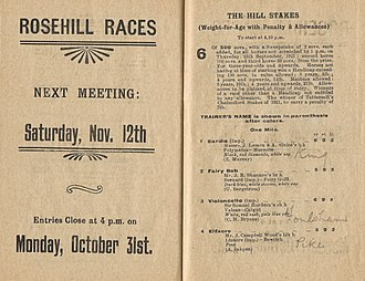 Beauford (horse) - Image: 1921 RRC Hill Stakes Racebook P3