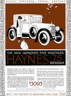 Haynes Automobile Company - Advertisement for 1922 Haynes Brougham