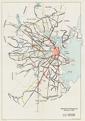 Boston Elevated Railway - By 1925, streetcars were gone from most downtown streets.