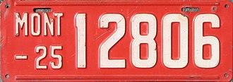 Vehicle registration plates of Montana - Image: 1925 Montana license plate