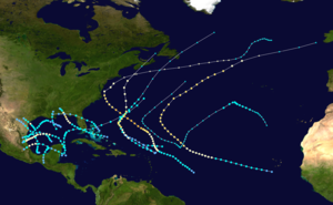A summary map of all tropical cyclone tracks in the 1936 Atlantic hurricane season