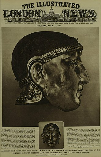 Emesa helmet - 30 April 1955 front cover of The Illustrated London News, issued shortly after the helmet's restoration