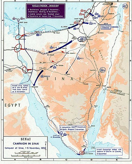 Anglo-French para drops on the Suez Canal and Israeli conquest of Sinai 1956 Suez war - conquest of Sinai.jpg