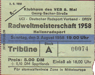 1958 UCI Road World Championships - Ticket of the event