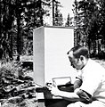 1963. Charles Sartwell collecting Ips oregonis from corrugated paper rearing cage. Pringle Falls Field Station. La Pine, Oregon. (33934807733).jpg