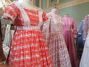 Laura Ashley - 1970s printed cotton dresses by Laura Ashley exhibited at the Fashion Museum, Bath in 2013