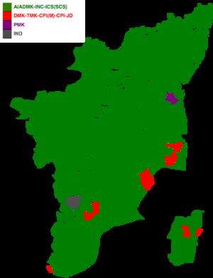 Tamil Nadu Legislative Assembly election, 1991 - Image: 1991 tamil nadu legislative election map